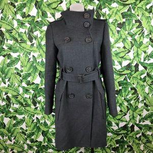 Zara Woman Gray Wool Double Breasted Pea Coat